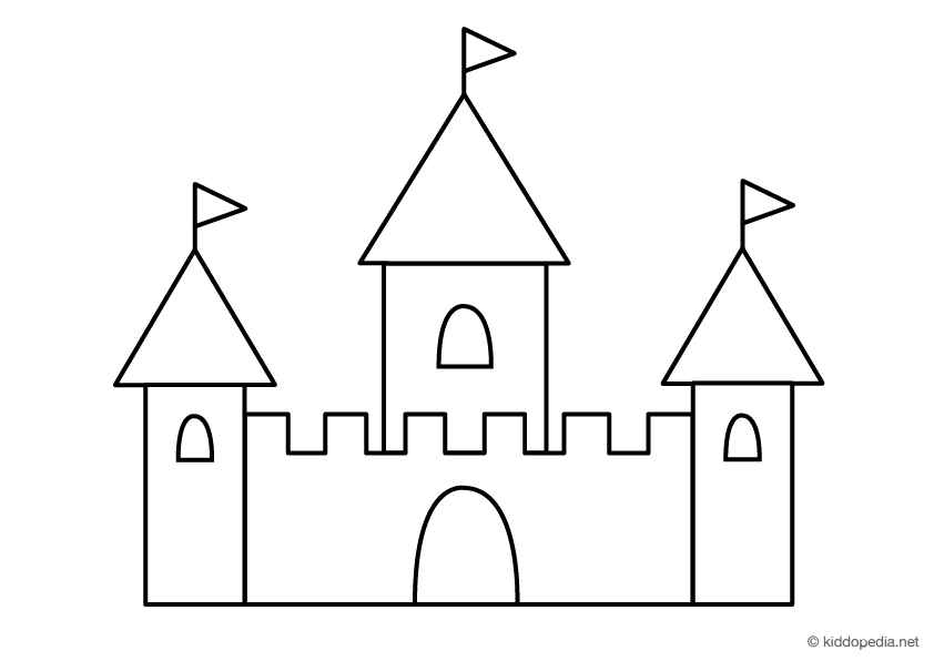 Here is a free castle coloring page by kiddopedia.net
